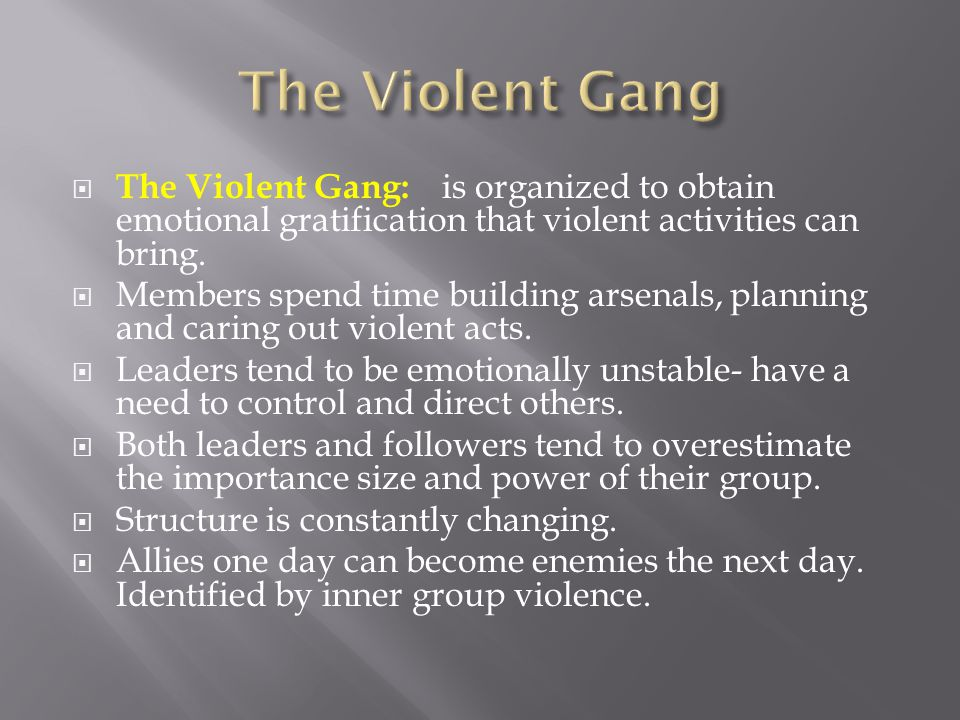 The Violent Gang: is organized to obtain emotional gratification that violent activities can bring.  Members spend time building arsenals, planning
