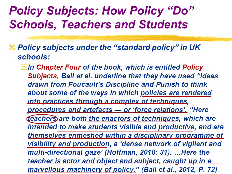 zPolicy subjects under the standard policy in UK schools: yIn Chapter Four of the book, which is entitled Policy Subjects, Ball et al.