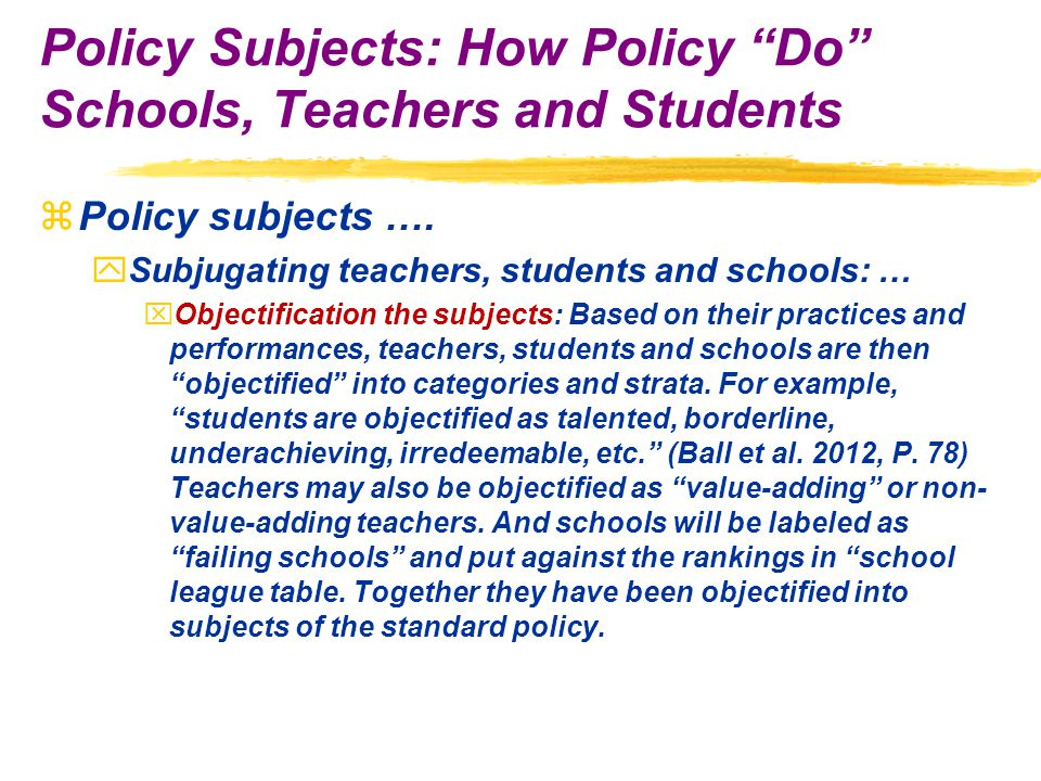 zPolicy subjects ….