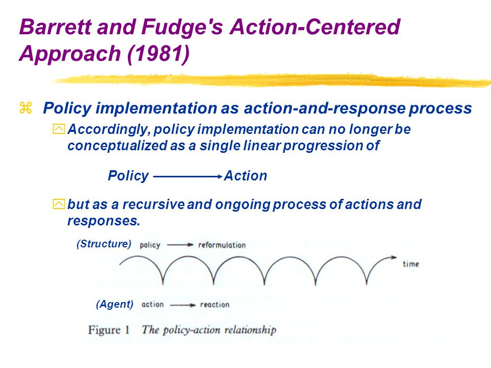 zPolicy implementation as action-and-response process yAccordingly, policy implementation can no longer be conceptualized as a single linear progression of ybut as a recursive and ongoing process of actions and responses.