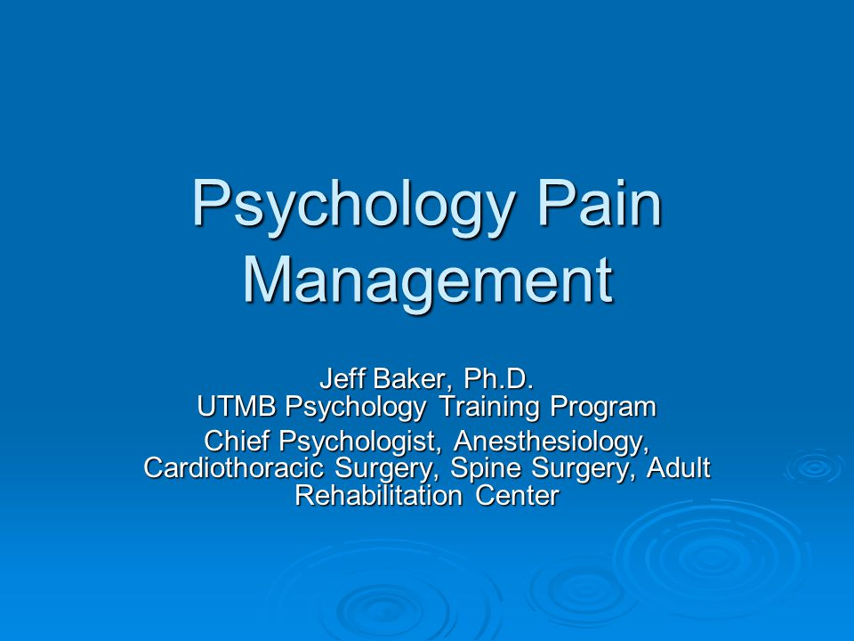 Psychological Techniques for working with Patients with Chronic Pain.