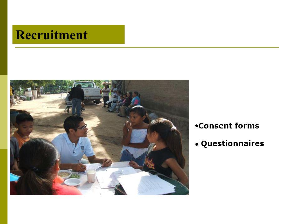 Recruitment Consent forms  Questionnaires