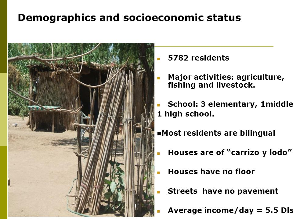 5782 residents Major activities: agriculture, fishing and livestock. School: 3 elementary, 1middle, 1 high school. Most residents are bilingual Houses