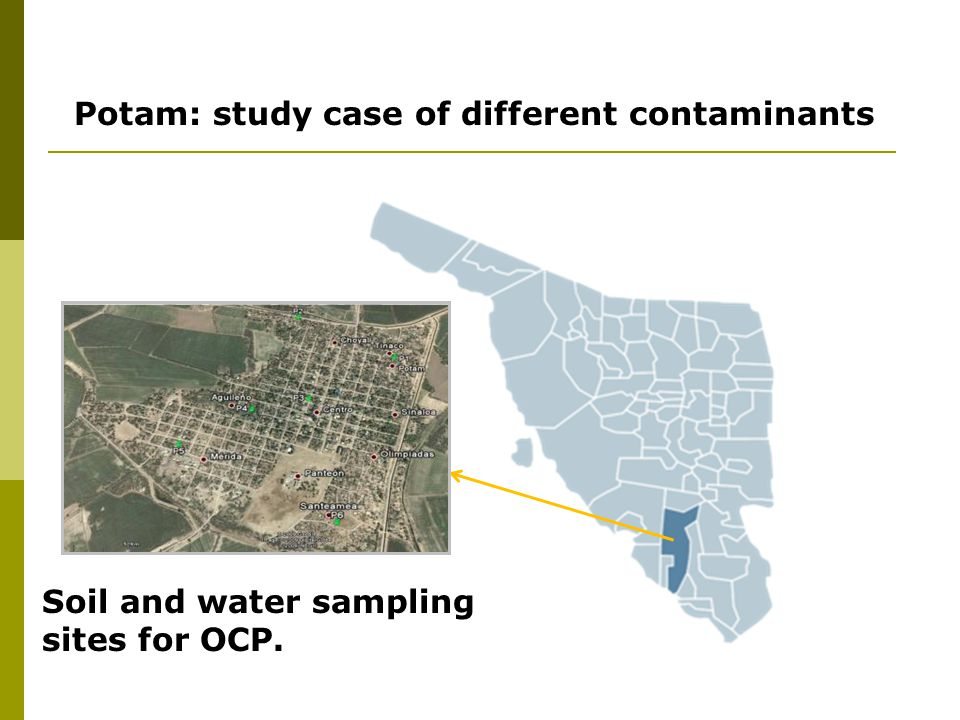 Potam: study case of different contaminants Soil and water sampling sites for OCP.