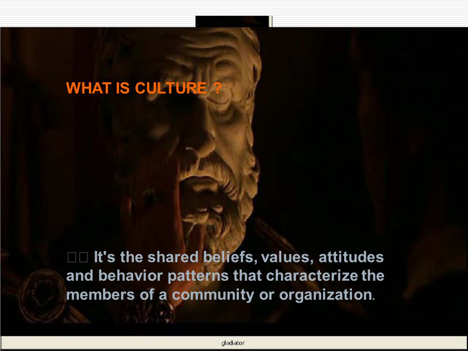 WHAT IS CULTURE ? It's the shared beliefs, values, attitudes and behavior patterns that characterize the members of a community or organization.