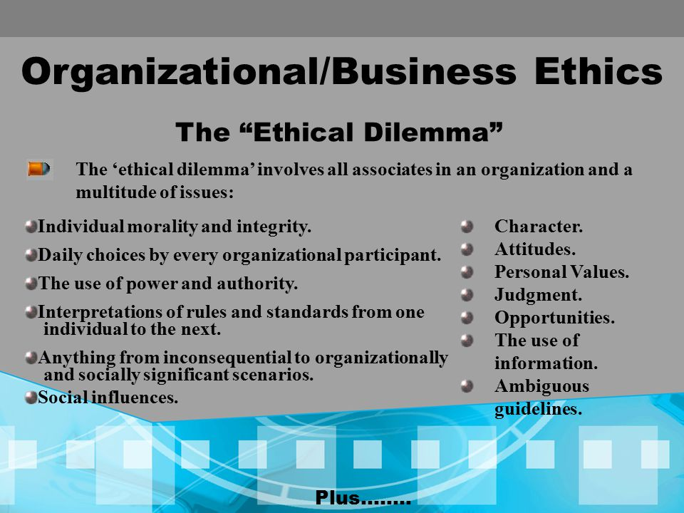 Organizational/Business Ethics The Ethical Dilemma Individual morality and integrity.