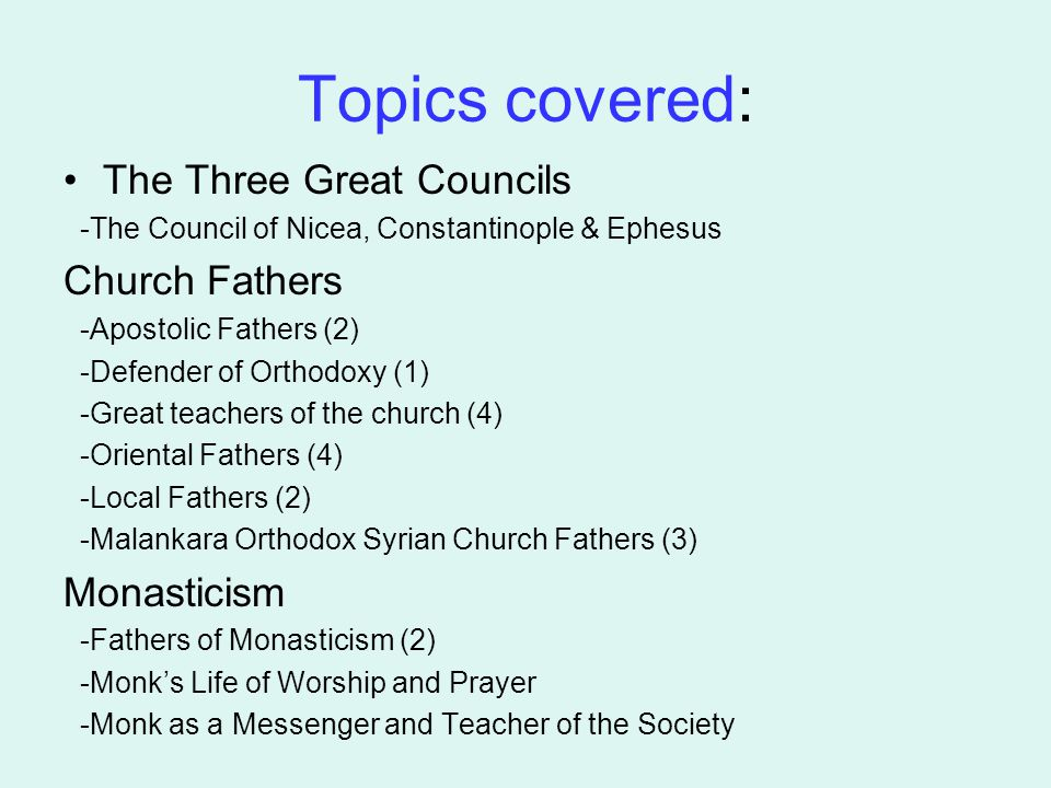 Topics covered: The Three Great Councils -The Council of Nicea, Constantinople & Ephesus Church Fathers -Apostolic Fathers (2) -Defender of Orthodoxy
