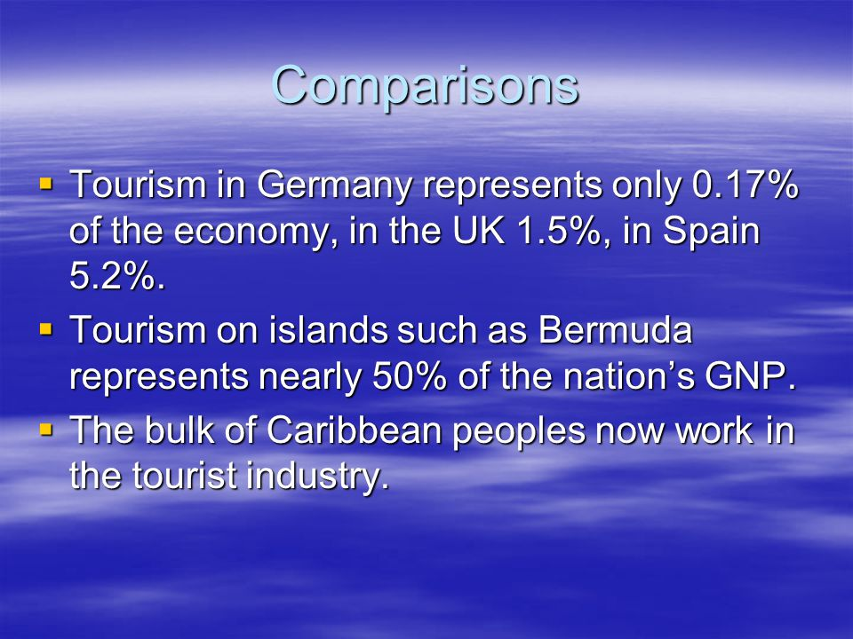 Comparisons  Tourism in Germany represents only 0.17% of the economy, in the UK 1.5%, in Spain 5.2%.