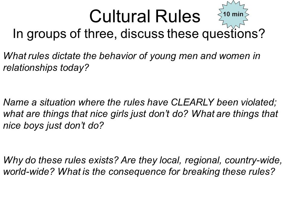 Cultural Rules In groups of three, discuss these questions.