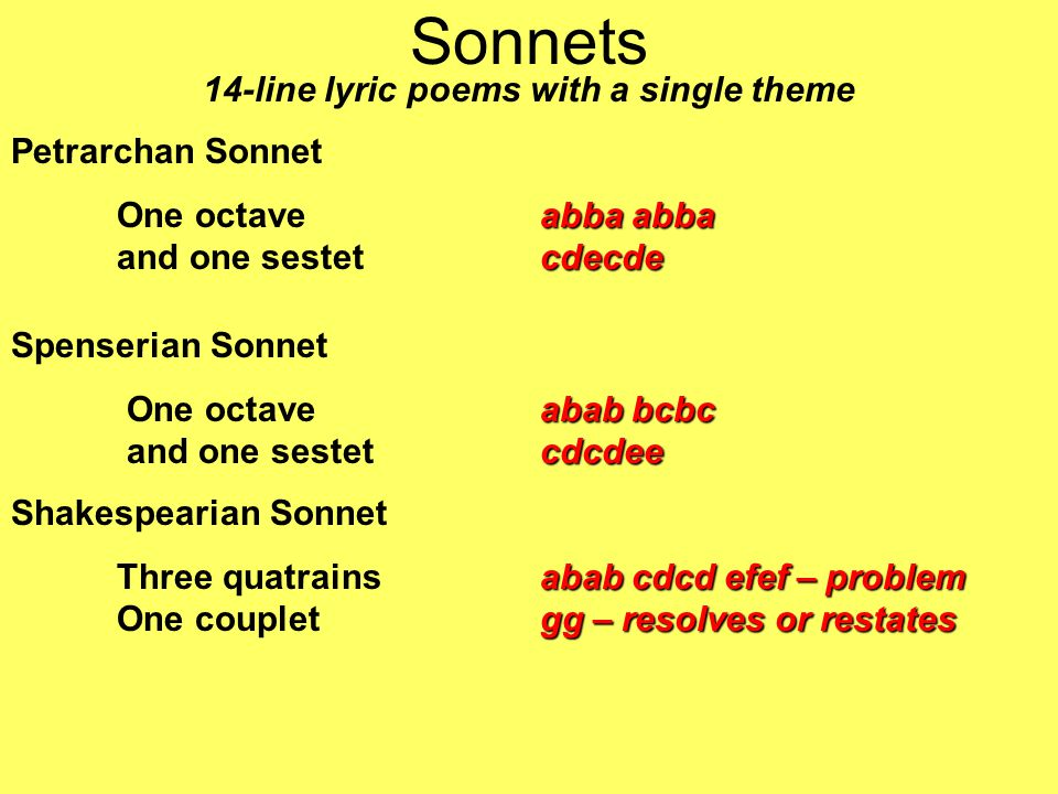 Sonnets 14-line lyric poems with a single theme Petrarchan Sonnet abba abba cdecde One octaveabba abba and one sestetcdecde Spenserian Sonnet abab bcbc cdcdee One octave abab bcbc and one sestet cdcdee Shakespearian Sonnet abab cdcd efef – problem gg – resolves or restates Three quatrainsabab cdcd efef – problem One coupletgg – resolves or restates