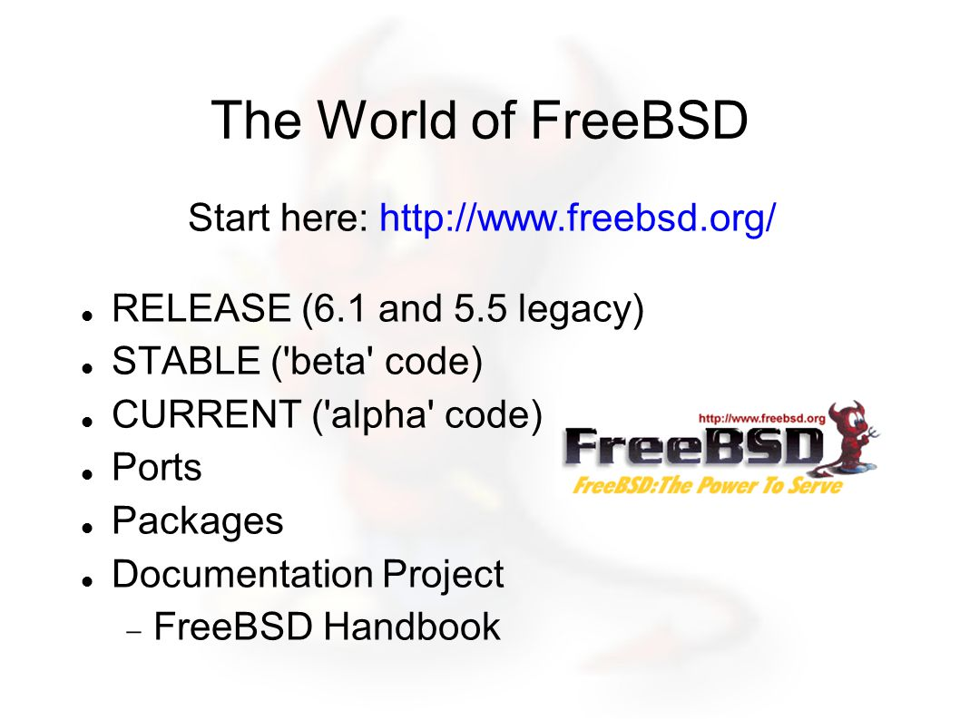 The World of FreeBSD Start here: http://www.freebsd.org/ RELEASE (6.1 and 5.5 legacy) STABLE ( beta code) CURRENT ( alpha code) Ports Packages Documentation Project  FreeBSD Handbook