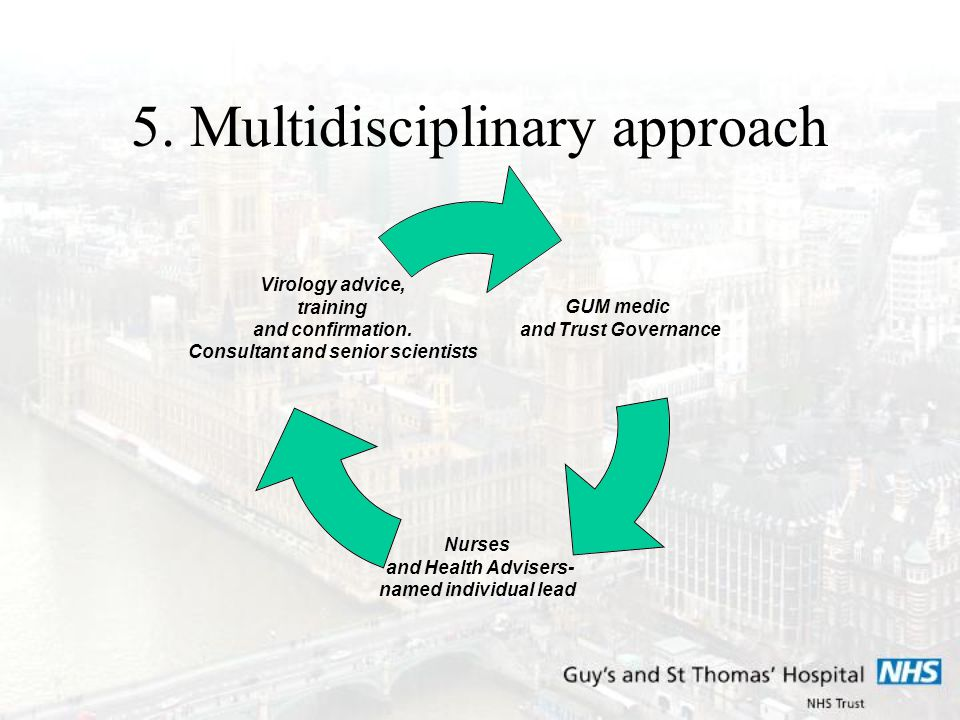 5. Multidisciplinary approach GUM medic and Trust Governance Nurses and Health Advisers- named individual lead Virology advice, training and confirmat