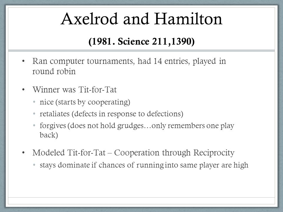 Axelrod and Hamilton (1981. Science 211,1390) Ran computer tournaments, had 14 entries, played in round robin Winner was Tit-for-Tat nice (starts by c