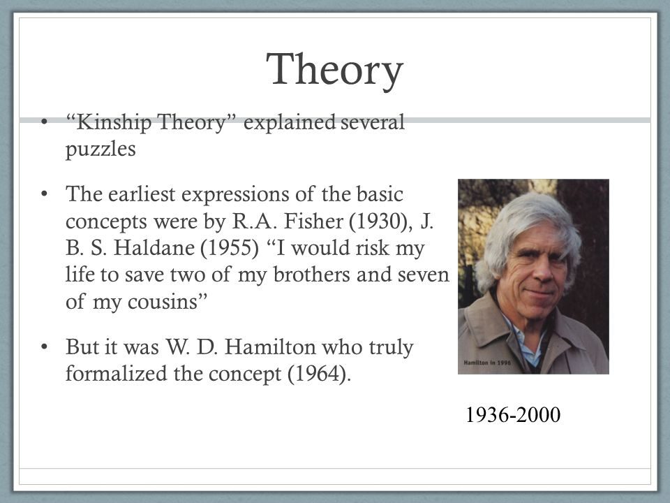 Theory Kinship Theory explained several puzzles The earliest expressions of the basic concepts were by R.A.