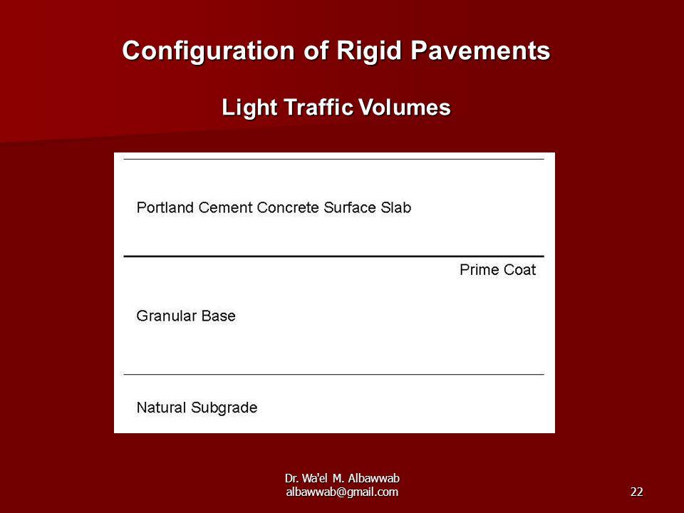 Dr. Wa'el M. Albawwab albawwab@gmail.com22 Configuration of Rigid Pavements Light Traffic Volumes