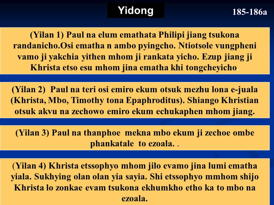 184-185 Tssotssencho 2 Emiro osi noying ekum 1Ematha 3 Nkho ekum 4Noying KHRISTA ETSSO ESU PENPHIO JILO OMAN JI.