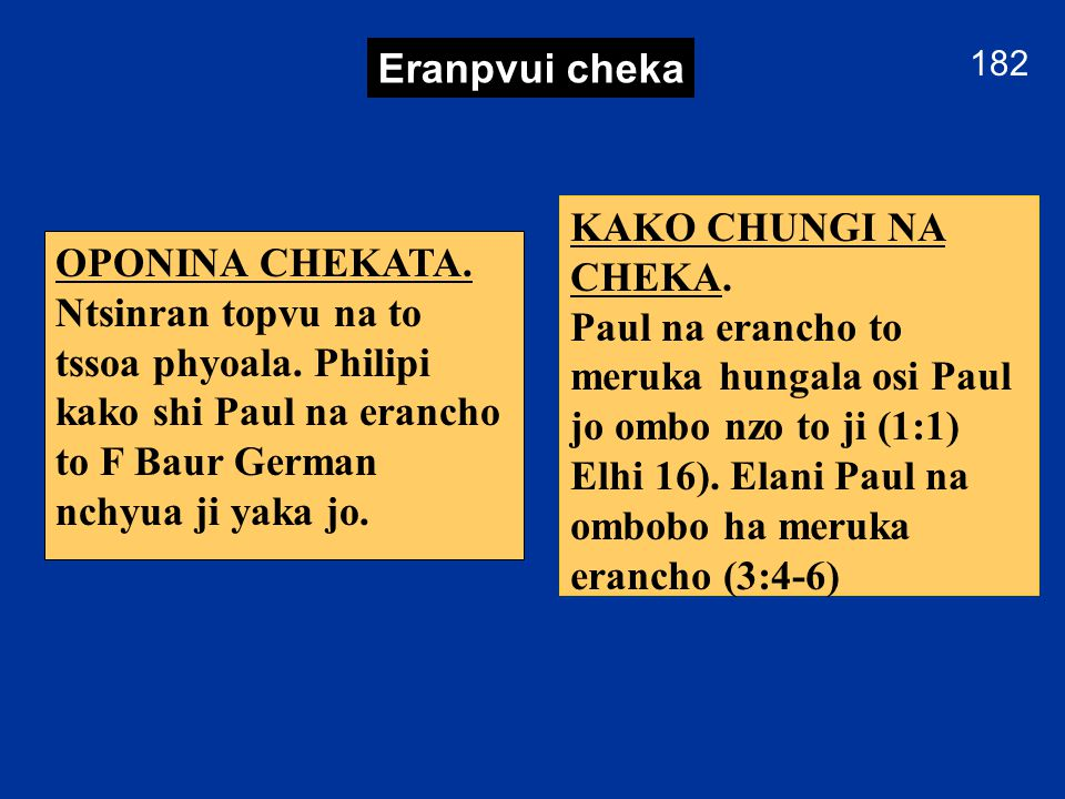 181 Philipi YI NTSSEN Paul na Philipi thungi, Khrista eju esu osi mbo lumbum esua evam ntssongcho.
