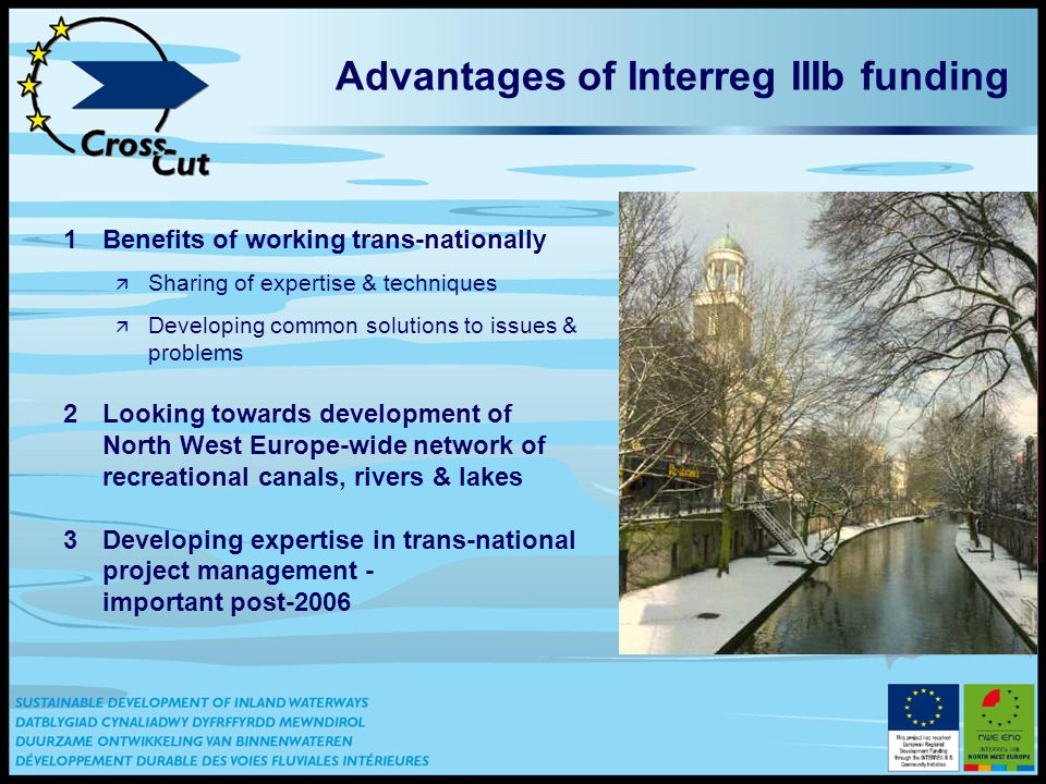 Advantages of Interreg IIIb funding 1Benefits of working trans-nationally ä Sharing of expertise & techniques ä Developing common solutions to issues