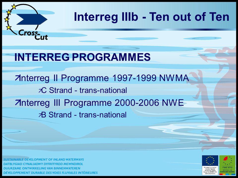 Interreg IIIb - Ten out of Ten INTERREG PROGRAMMES ä Interreg II Programme 1997-1999 NWMA ä C Strand - trans-national äInterreg III Programme 2000-2006 NWE ä B Strand - trans-national
