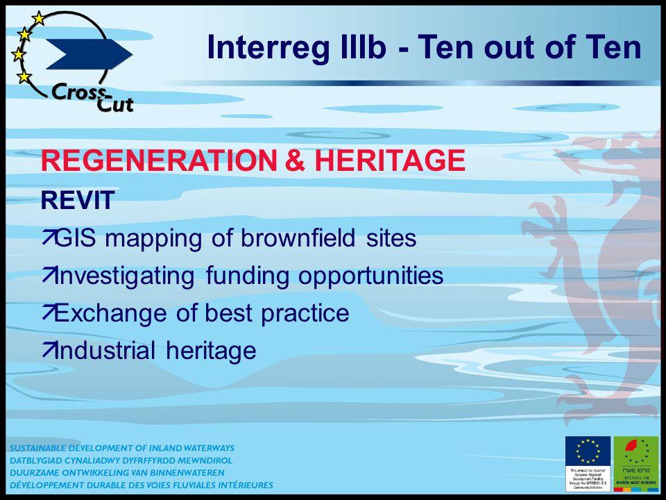 Interreg IIIb - Ten out of Ten REGENERATION & HERITAGE REVIT äGIS mapping of brownfield sites äInvestigating funding opportunities äExchange of best practice äIndustrial heritage