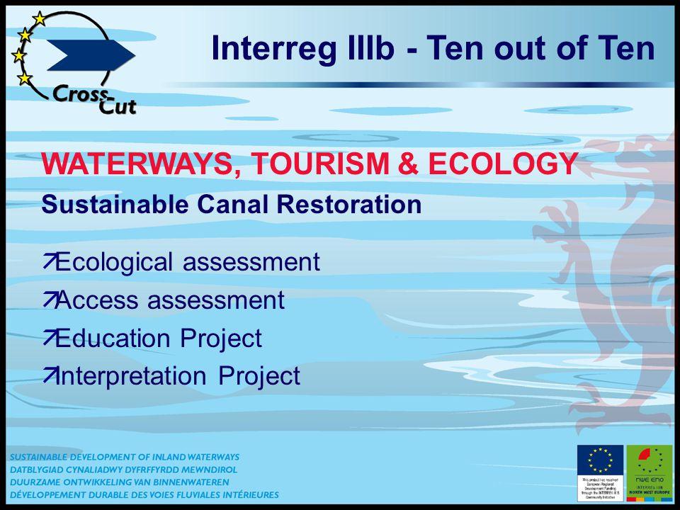 Interreg IIIb - Ten out of Ten WATERWAYS, TOURISM & ECOLOGY Sustainable Canal Restoration äEcological assessment äAccess assessment äEducation Project äInterpretation Project
