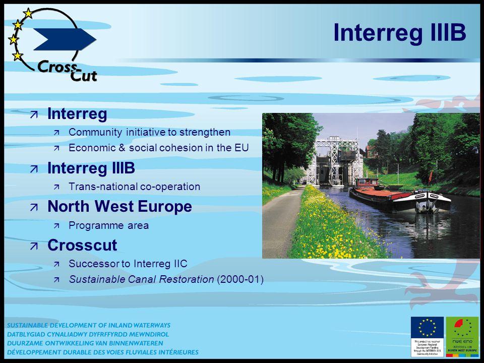 Interreg IIIB ä Interreg ä Community initiative to strengthen ä Economic & social cohesion in the EU ä Interreg IIIB ä Trans-national co-operation ä North West Europe ä Programme area ä Crosscut ä Successor to Interreg IIC ä Sustainable Canal Restoration (2000-01)