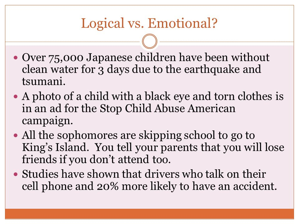 Logical vs. Emotional? Over 75,000 Japanese children have been without clean water for 3 days due to the earthquake and tsumani. A photo of a child wi