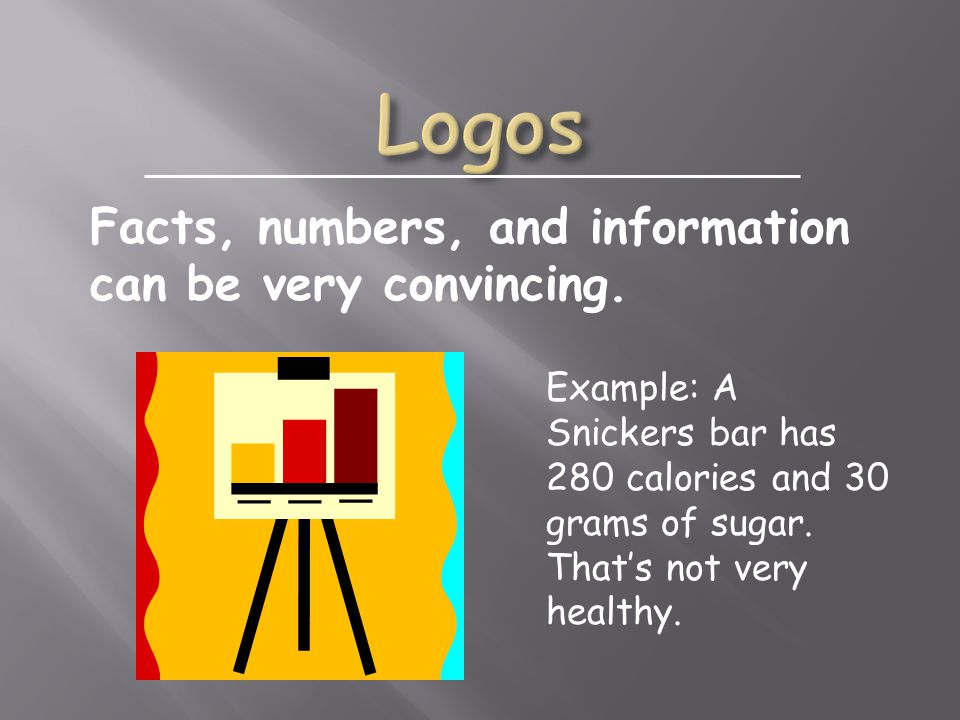 Example: A Snickers bar has 280 calories and 30 grams of sugar.