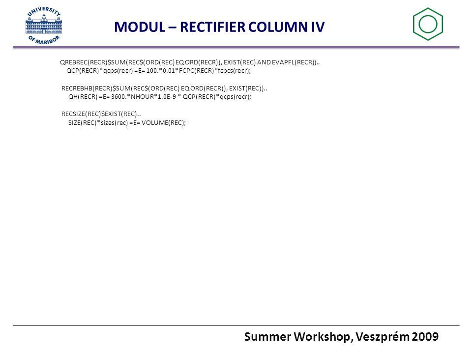Summer Workshop, Veszprém 2009 MODUL – RECTIFIER COLUMN IV QREBREC(RECR)$SUM(REC$(ORD(REC) EQ ORD(RECR)), EXIST(REC) AND EVAPFL(RECR))..