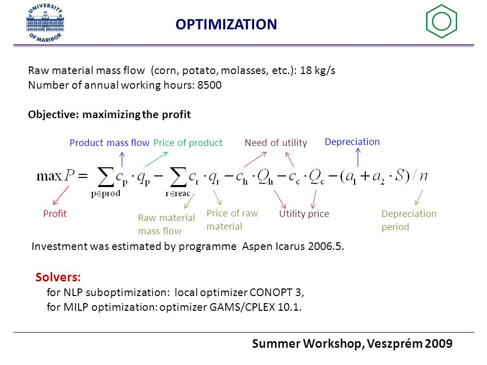Summer Workshop, Veszprém 2009 OPTIMIZATION Product mass flowPrice of product Price of raw material Raw material mass flow Utility price Need of utility Raw material mass flow (corn, potato, molasses, etc.): 18 kg/s Number of annual working hours: 8500 Objective: maximizing the profit Depreciation Depreciation period Profit Investment was estimated by programme Aspen Icarus 2006.5.