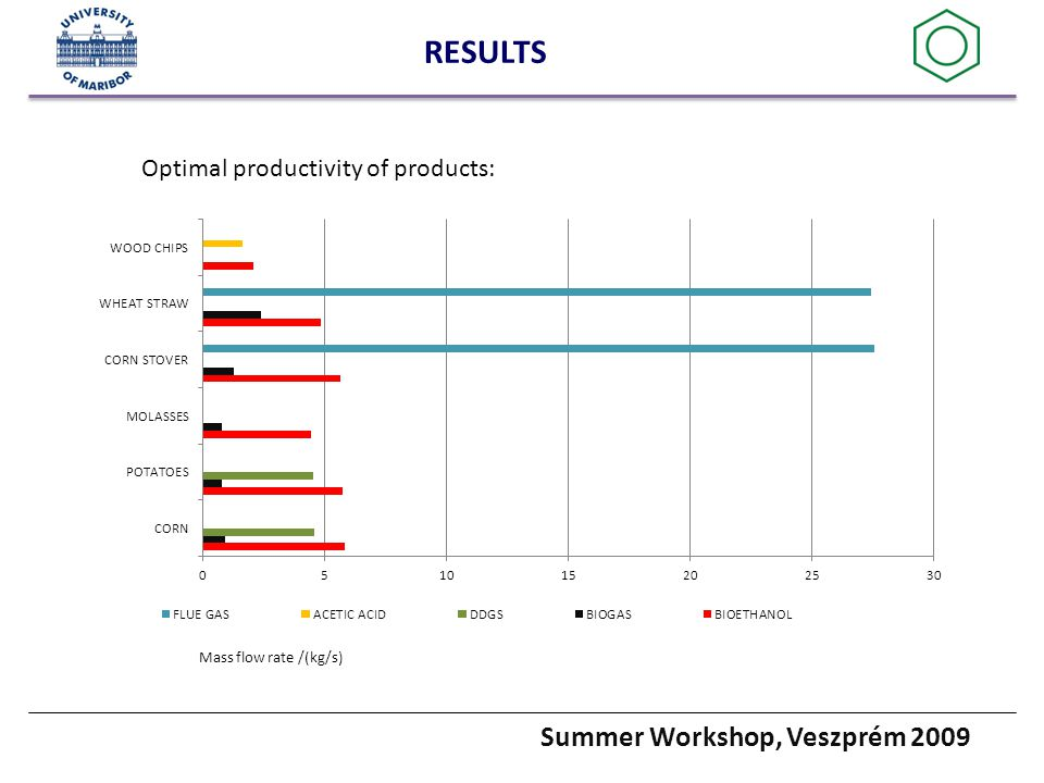 Summer Workshop, Veszprém 2009 RESULTS Optimal productivity of products: