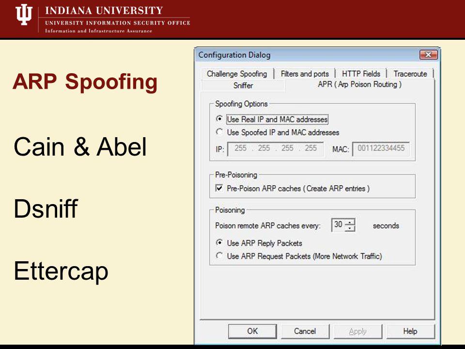 ARP Spoofing Cain & Abel Dsniff Ettercap