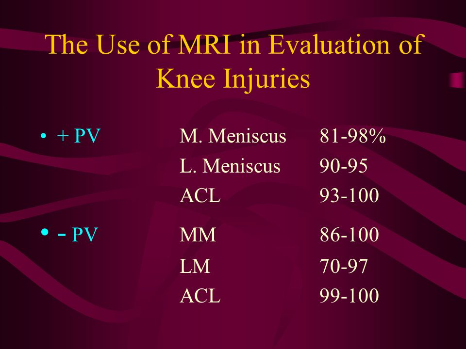 The Use of MRI in Evaluation of Knee Injuries SensitivityM.