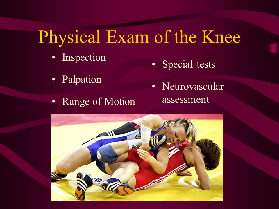 Physical Exam of the Knee Inspection Palpation Range of Motion Special tests Neurovascular assessment