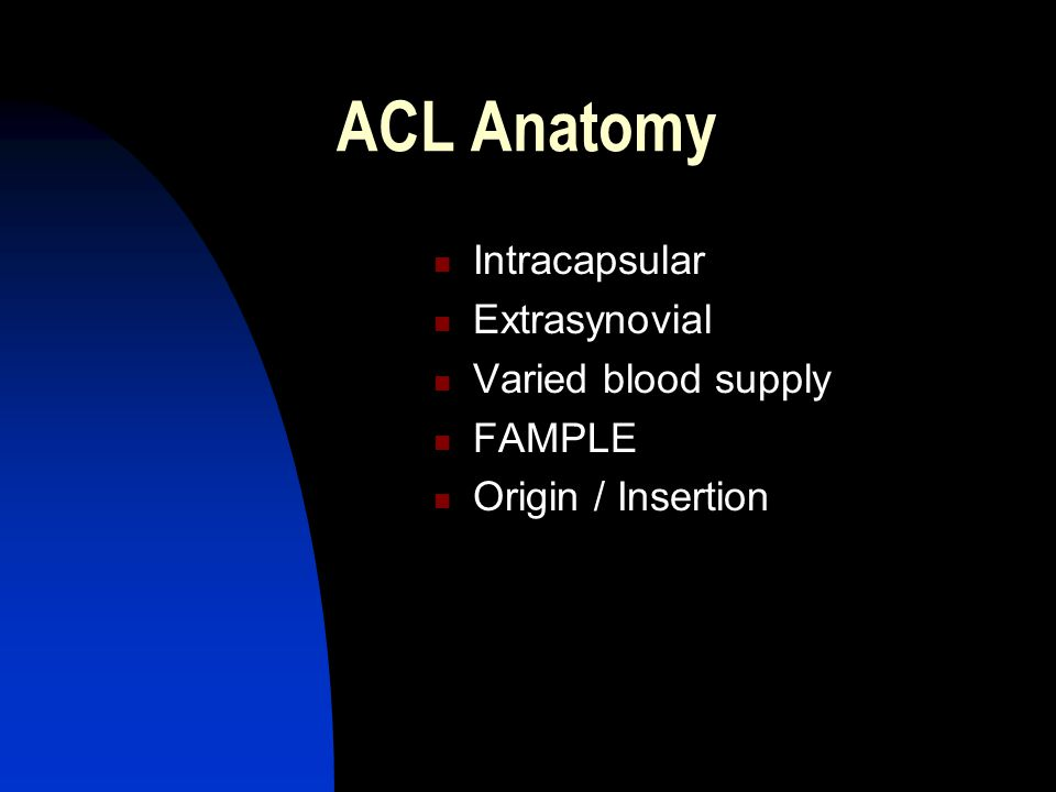 ACL Anatomy Intracapsular Extrasynovial Varied blood supply FAMPLE Origin / Insertion