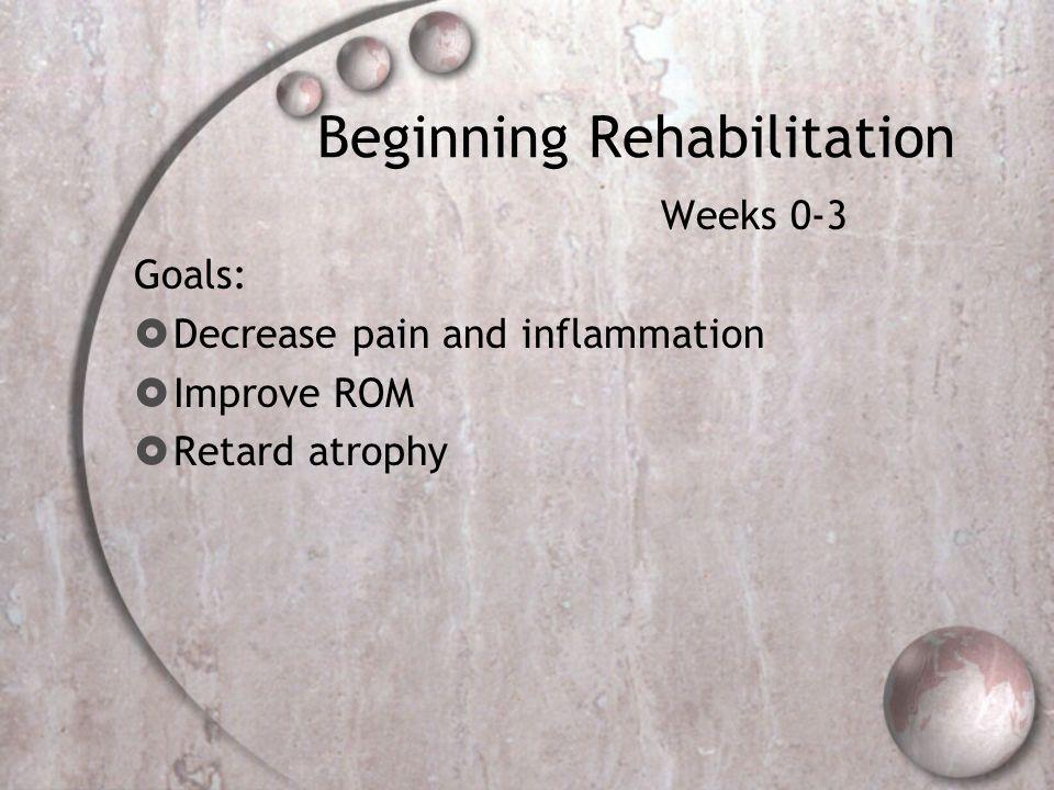 Beginning Rehabilitation Weeks 0-3 Goals:  Decrease pain and inflammation  Improve ROM  Retard atrophy