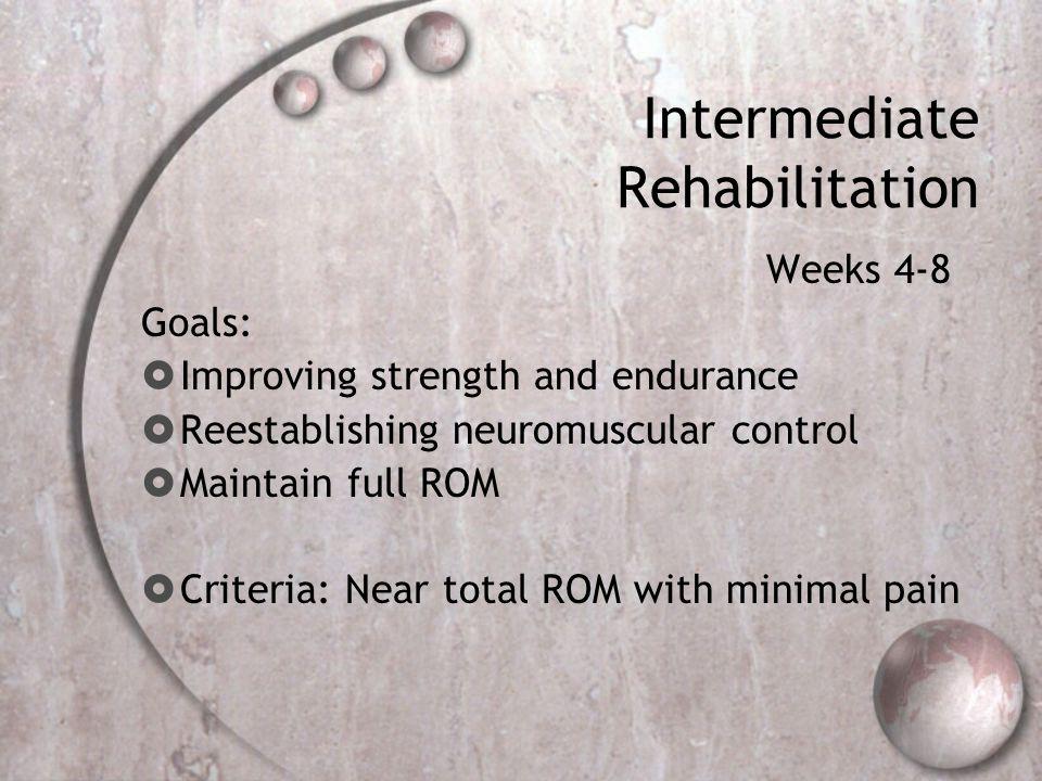 Intermediate Rehabilitation Weeks 4-8 Goals:  Improving strength and endurance  Reestablishing neuromuscular control  Maintain full ROM  Criteria: