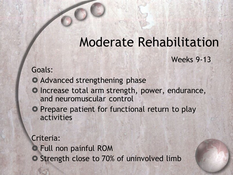 Moderate Rehabilitation Weeks 9-13 Goals:  Advanced strengthening phase  Increase total arm strength, power, endurance, and neuromuscular control 
