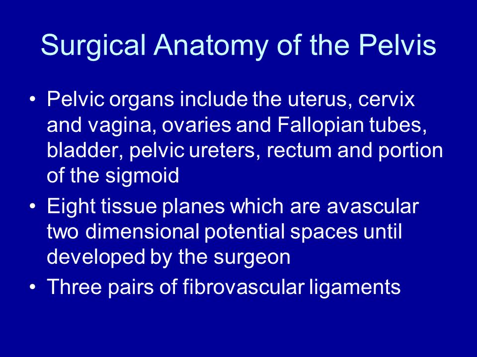 Surgical Anatomy of the Pelvis Pelvic organs include the uterus, cervix and vagina, ovaries and Fallopian tubes, bladder, pelvic ureters, rectum and p