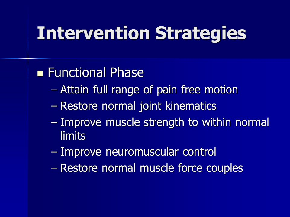 Intervention Strategies Functional Phase Functional Phase –Attain full range of pain free motion –Restore normal joint kinematics –Improve muscle stre