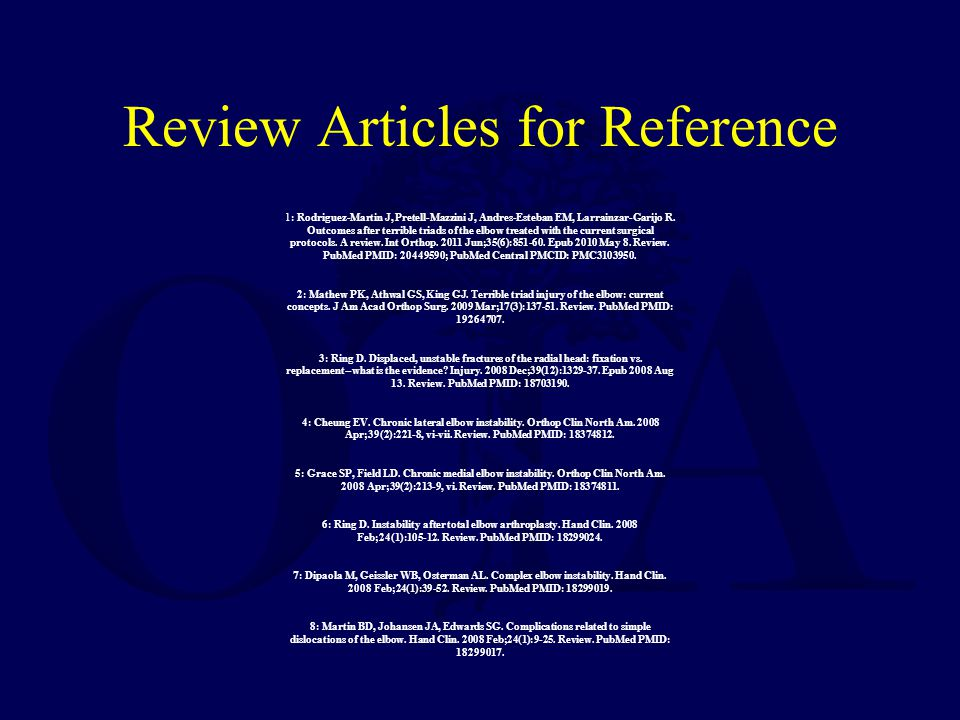 Review Articles for Reference 1: Rodriguez-Martin J, Pretell-Mazzini J, Andres-Esteban EM, Larrainzar-Garijo R. Outcomes after terrible triads of the