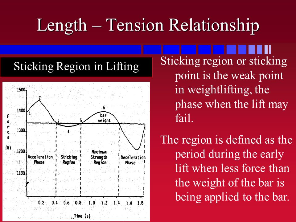 Length – Tension Relationship Sticking region or sticking point is the weak point in weightlifting, the phase when the lift may fail. The region is de