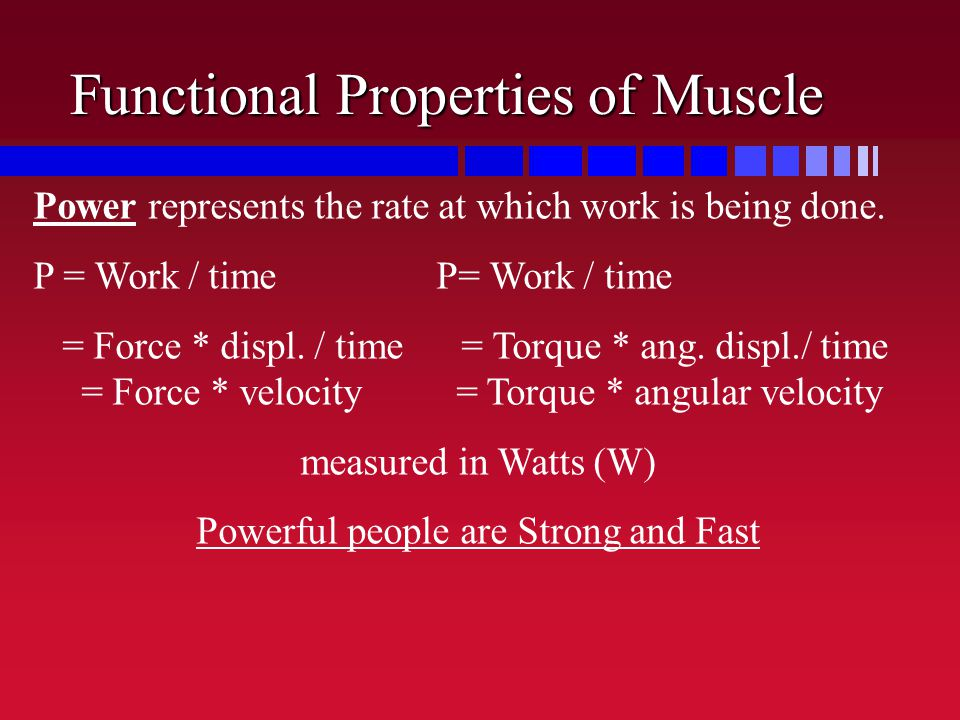 Functional Properties of Muscle Power represents the rate at which work is being done. P = Work / time P= Work / time = Force * displ. / time = Torque