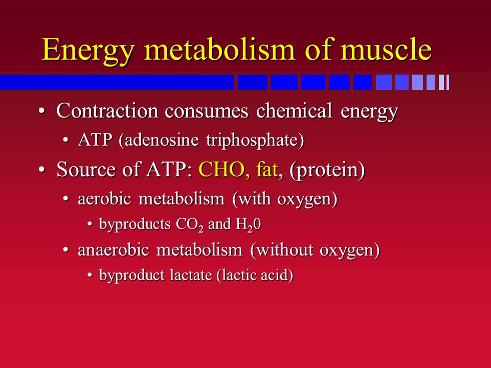 Energy metabolism of muscle Contraction consumes chemical energyContraction consumes chemical energy ATP (adenosine triphosphate)ATP (adenosine tripho