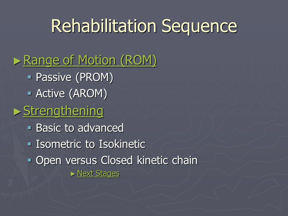 Rehabilitation Sequence ► Range of Motion (ROM) Range of Motion (ROM) Range of Motion (ROM)  Passive (PROM)  Active (AROM) ► Strengthening Strengthe