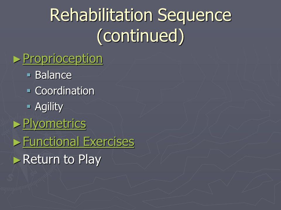 Rehabilitation Sequence (continued) ►P►P►P►P rrrr oooo pppp rrrr iiii oooo cccc eeee pppp tttt iiii oooo nnnn BBBBalance CCCCoordination AA