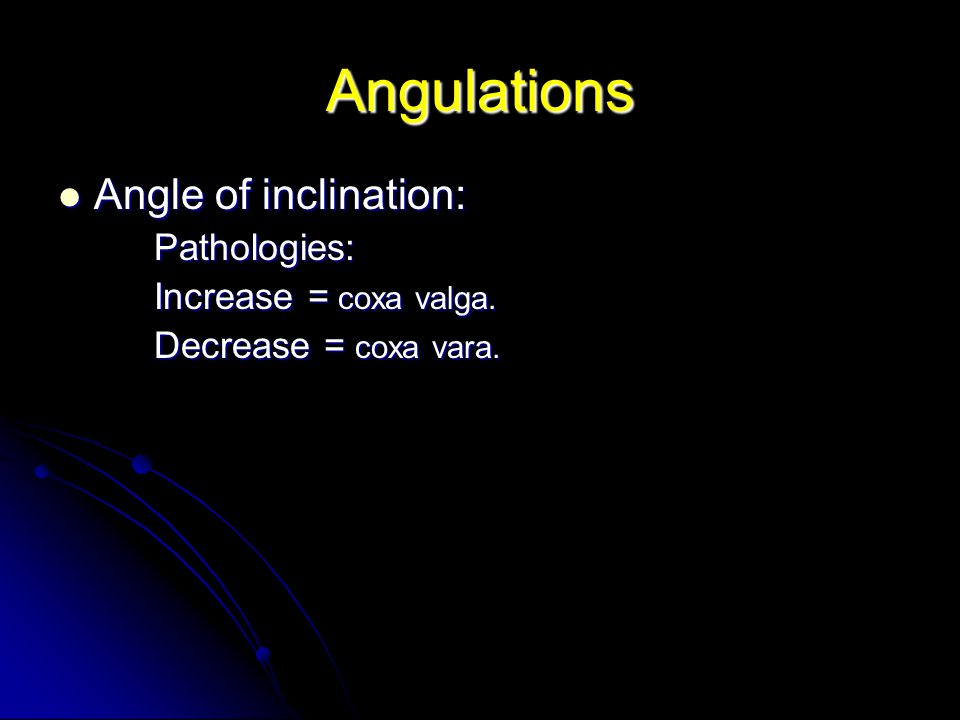 Angulations Angle of inclination: Angle of inclination:Pathologies: Increase = coxa valga.