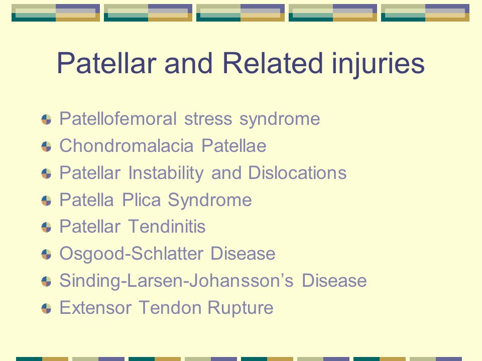 Patellar and Related injuries Patellofemoral stress syndrome Chondromalacia Patellae Patellar Instability and Dislocations Patella Plica Syndrome Pate