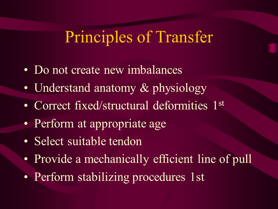Principles of Transfer Do not create new imbalances Understand anatomy & physiology Correct fixed/structural deformities 1 st Perform at appropriate a