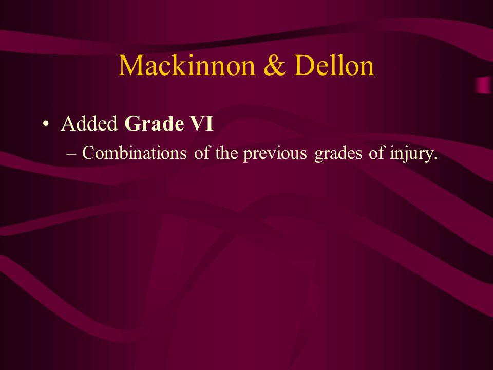 Mackinnon & Dellon Added Grade VI –Combinations of the previous grades of injury.